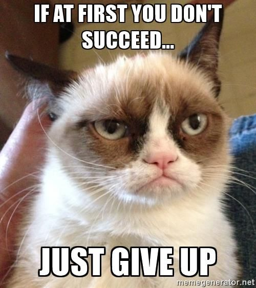 If at first you don't succeed... just give up - Grumpy Cat 2 | Meme Generator