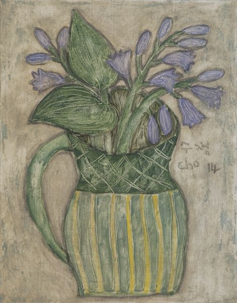 """Soojung Cho, daylily in a green ceramic jug, 11""""x14"""", acrylic, pastel, pencil on canvas"""