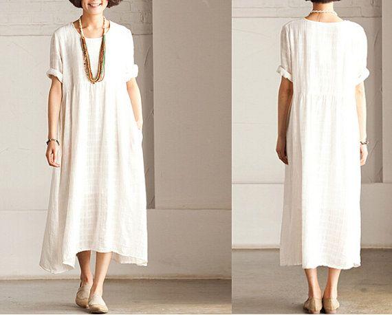 2 Colors Women White Maxi Dress Loose Fit Soft Cotton Linen Long Shirt Blouse for Women Short Sleeved Women Dress Long Sundress on Etsy, $49.00