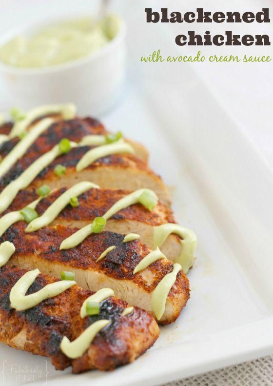 Blackened Chicken with Avocado Cream Sauce - delicious and healthy dinner idea!