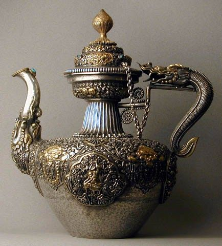 Tibetan 19th century solid silver, turquoise-inlaid teapot.
