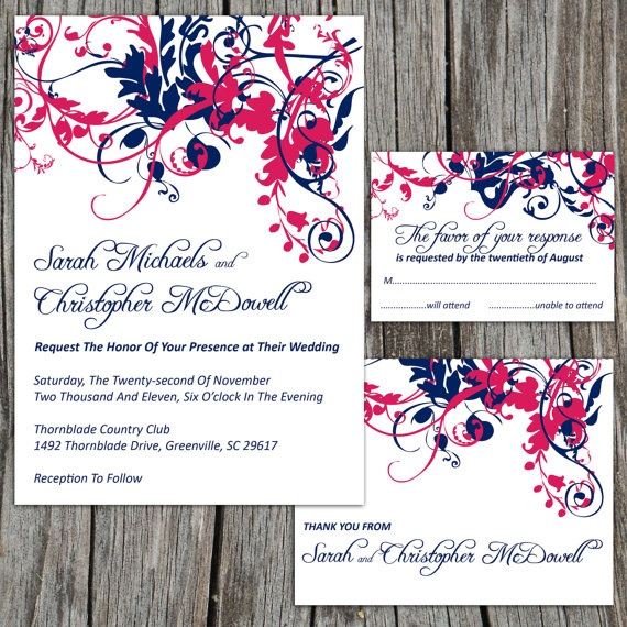Printable Wedding Invitation Suite Package, RSVP Reply Card, Thank You Card, Modern Swirls Pick Your Colors, DIY Digital Files