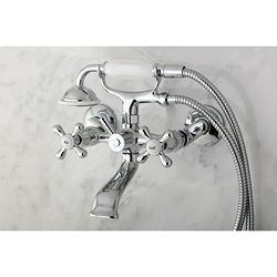 Incorporate an element of classic design into your bathroom with this decorative Victorian bathtub faucet. The fresh chrome finish adds a modern sheen to traditionally themed bathrooms, and the compac