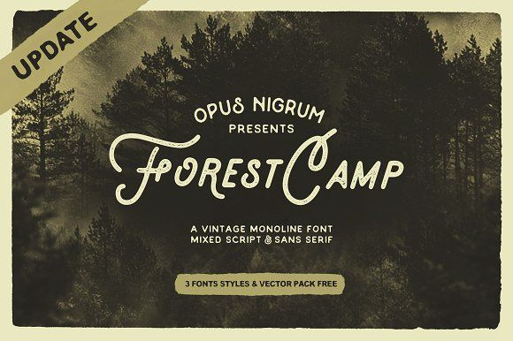 Forest Camp Font + Free Vector Pack by OpusNigrum on @creativemarket