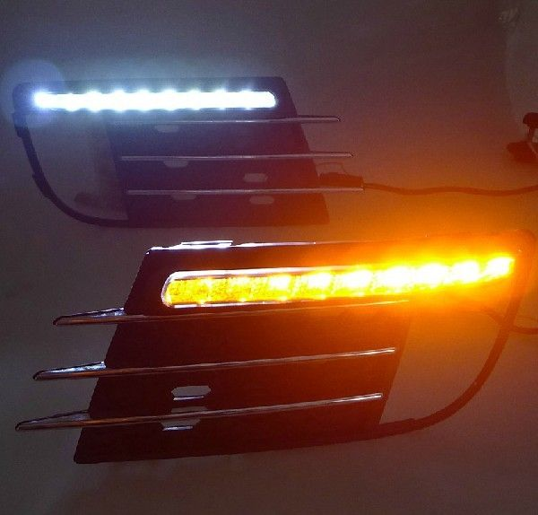 118.00$  Buy here - http://alibpq.worldwells.pw/go.php?t=2019203767 - VW tiguan 2013-14 led drl daytime running light, dimmer when headlight on, yellow turn signals, super bright upgrade replacement 118.00$