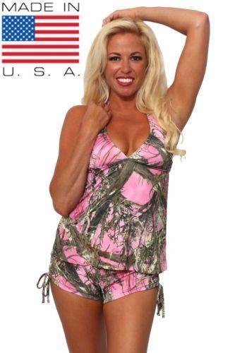 Womens-2-Piece-Camo-Bikini-Pink-True-Timber-Tankini-Top-String-Shorts-Beach