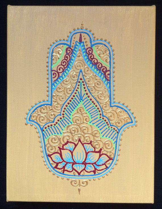 23 best Hamsa hand painted canvases by Henna on Hudson images on ...
