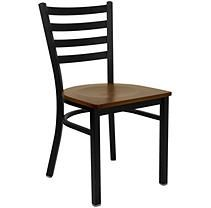 Hospitality Chair - Black Metal - Ladder Back - Cherry Finished Wood Seat - 24 pk.