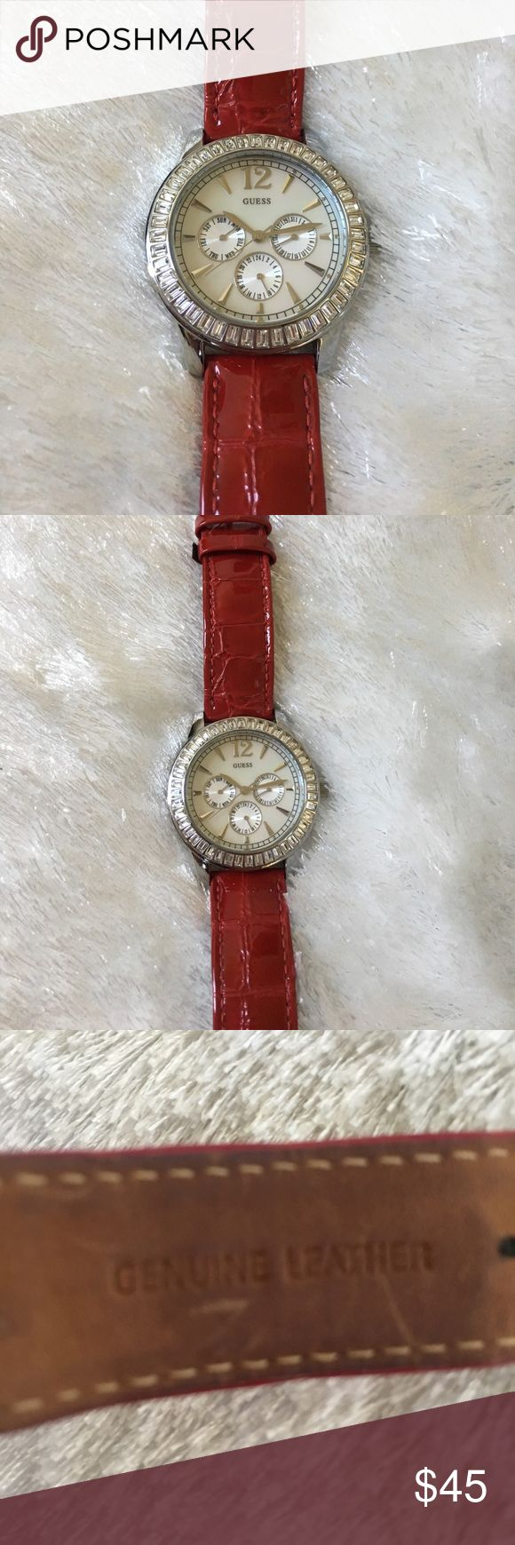 Guess Watch Guess watch with leather red band Guess Jewelry
