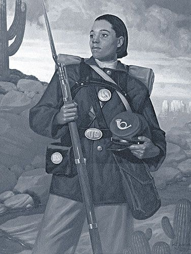 "Cathay Williams, first black female to enlist in the U.S. Army and only female Buffalo soldier . On Nov. 15, 1866, Cathay Williams enlisted in the Army using the name William Cathay. She informed her recruiting officer that she was a 22-year-old cook. He described her as 5' 9"", with black eyes, black hair and black complexion. She was assigned to the 38th U.S. Infantry.  No one discovered she was a female. Cathay Williams was born into slavery in Independence Missouri in 1842."