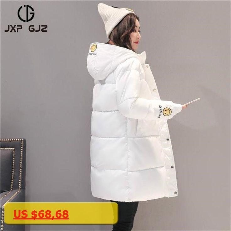 JXP GJZ Winter Women Jacket Coat Parka Black Zipper Long Sleeve Slim Thick Hooded Parkas Regular Plus Size Parkas Femme 2XL XXXL