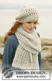 "Set consists of: Knitted DROPS scarf and hat with lace pattern in ""Eskimo"" or ""Andes"". ~ DROPS Design"