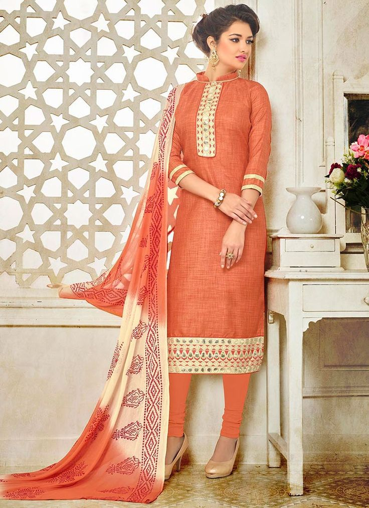 Buy Orange Churidar Suit #churidarsuit #salwarkameez #churidarsalwar #ethnicfashion #glamor