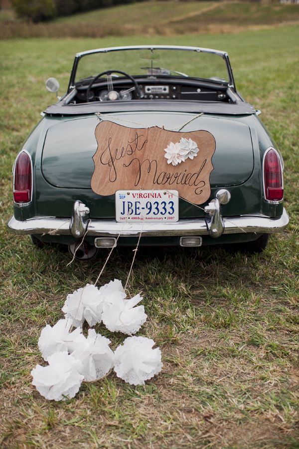 148 best wedding cars images on pinterest wedding getaway car 35 cool and creative wedding getaway car decor ideas junglespirit Image collections