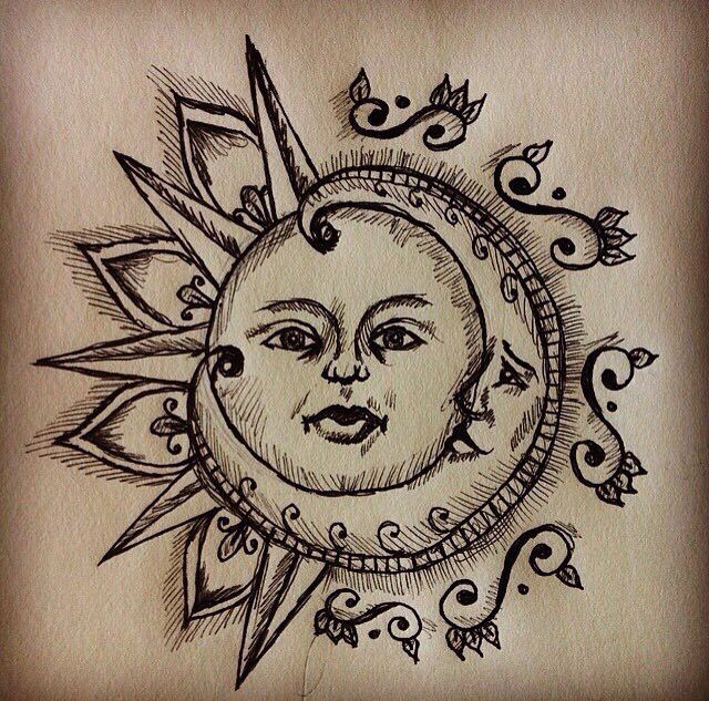 Sun and moon drawing tattoo for real this time pinterest for Realistic sun tattoo