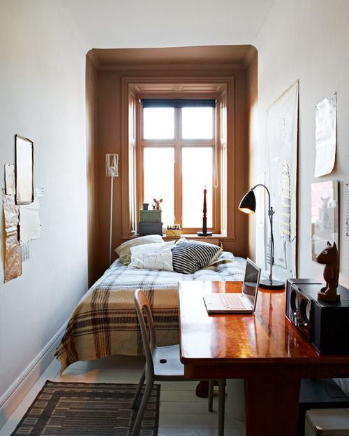 Design Dozen: 12 Clever Space Saving Solutions For Small Bedrooms A Deep  Window Sill Can Do Nightstand Duty In A Narrow Room.