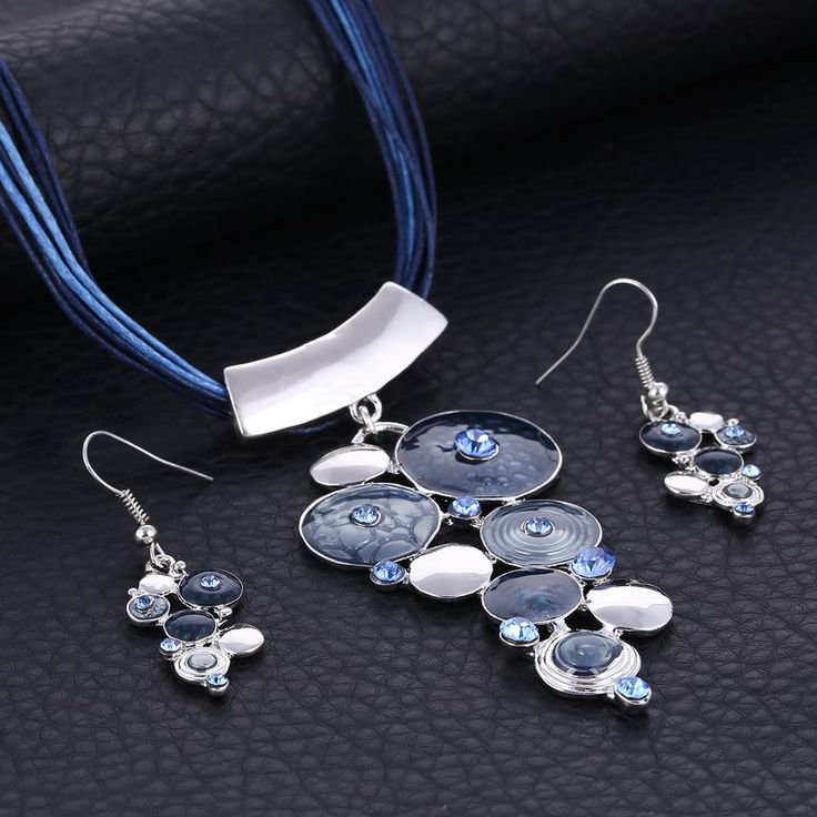 Paradise Circles Necklace & Earring Set - Blue www.evcostudio.online Tribal Jewelry Ethnic Jewellery Fashion Jewelry Women's Accessories Brown Necklace Silver Necklace Necklace & Earring Set Pendant Necklace Statement Necklace Choker Sweater Necklace Leather Blue Necklace Circles Charm Necklace Mother's Day Gift Birthday Gift Girlfriend Gift Jewellery Set Christmas Gift Women's Gift Jewelry Gift Valentine's Day Gift for Wife
