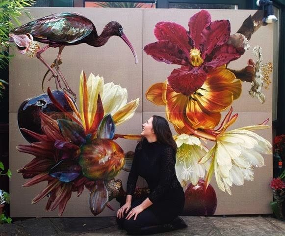 Four adjoining panels from my current series Gates of Paradise showing the scale of my work. Over 60 paintings have been completed in the series to date which measures over 120 square metres. http://ift.tt/2tw3w8c  #gatesofparadise #annemiddleton #gbartconsulting #botanicalart #oilpainting #contemporaryart #oilonlinen #colour