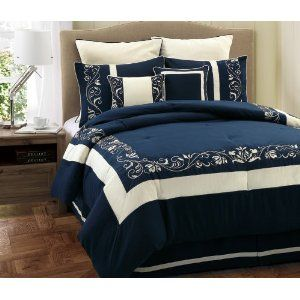 Navy Blue and White Comforter Set add pink and mint pillows and it will be perfect