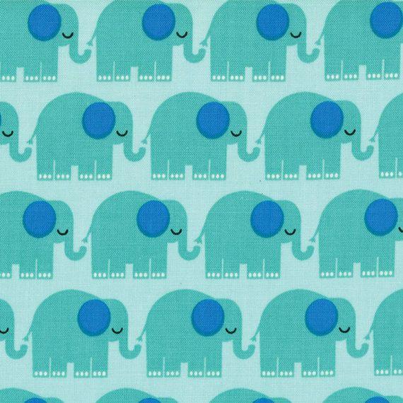 BUNGLE JUNGLE MODA 39502 15 TIM AND BECK 1//2 YARD BLUE RED ELEPHANTS ON WHITE