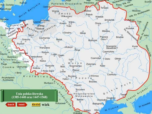 map union of Poland and Lithuania = Crown and Great Lithuanian Duchy