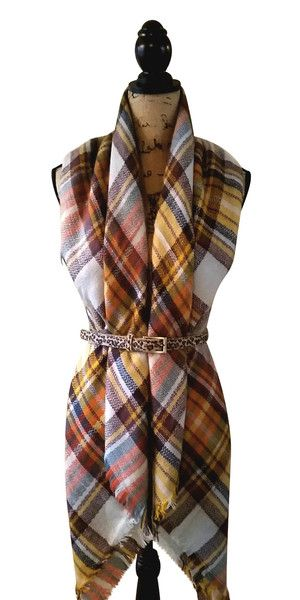 Harvest Gold Tartan Plaid Blanket Oversized Blanket Scarf, Belted