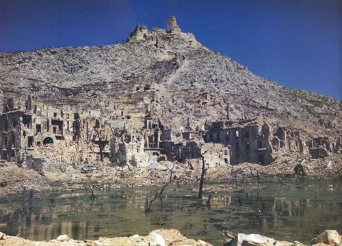 "Original colour 'photo of the almost unbelievable devastation left by the Battle of Monte Cassino, courtesy of ""Life"" magazine. JR."