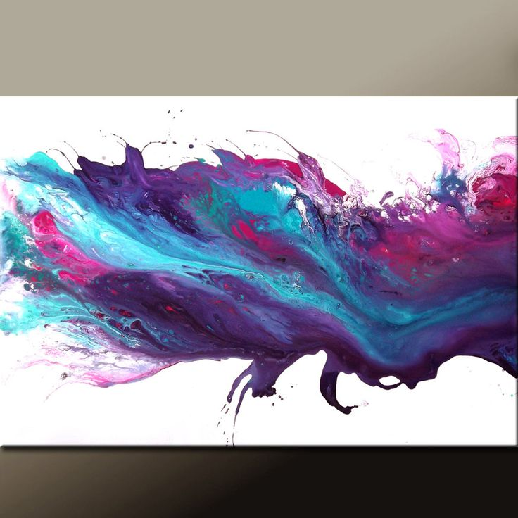 purple canvas abstract | Abstract Canvas Art Painting 36x24 Original Purple & Blue Modern ...
