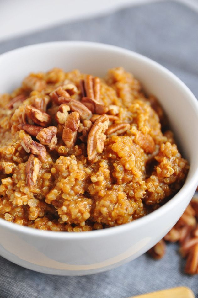 Pumpkin Pie Breakfast Quinoa. Simple, cozy protein packed breakfast that is vegan, gluten free and dairy free!