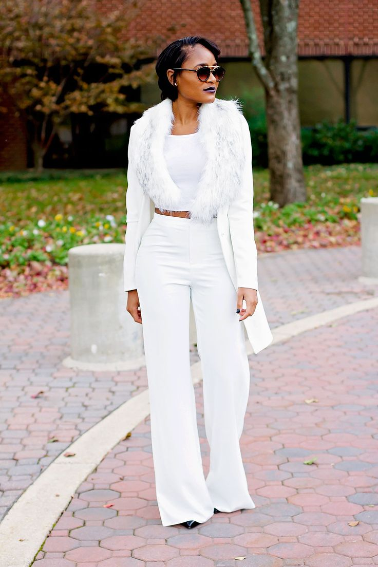 The Daileigh-all white outfit ideas, white wide leg pants, christian louboutin pigalle pumps, white faux fur, white jacket, mac cyber lipstick, white crop top