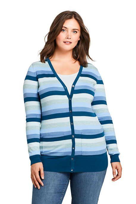 18fcacca1ab Women s Plus Size Long Cardigan Sweater Stripe Supima Cotton ...