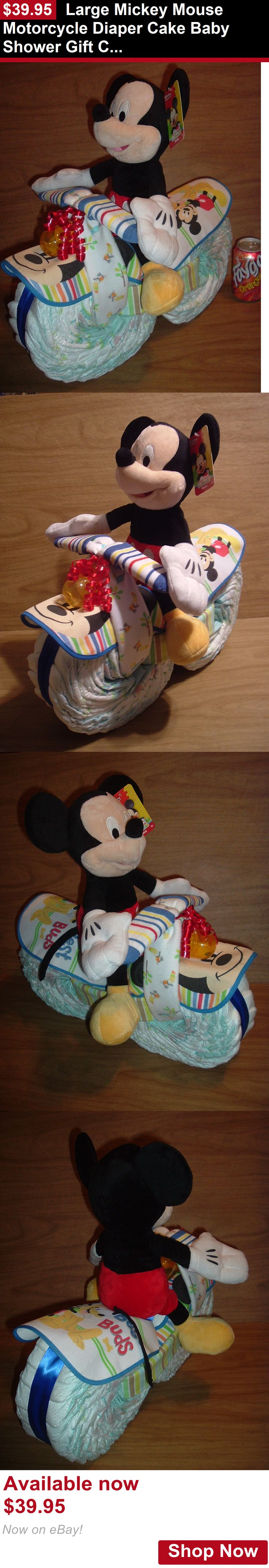 Baby Diaper Cakes: Large Mickey Mouse Motorcycle Diaper Cake Baby Shower Gift Centerpiece BUY IT NOW ONLY: $39.95