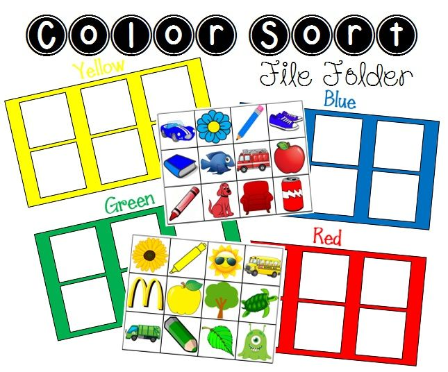 Color Sort File Folder Activity - FREE