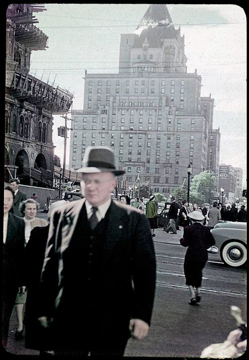 Next to the man you can see the old, Vancouver Hotel which now stands the TD Canada Trust Tower