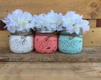 Shabby Chic Mason Jars. Wedding Centerpieces. Lace Candle