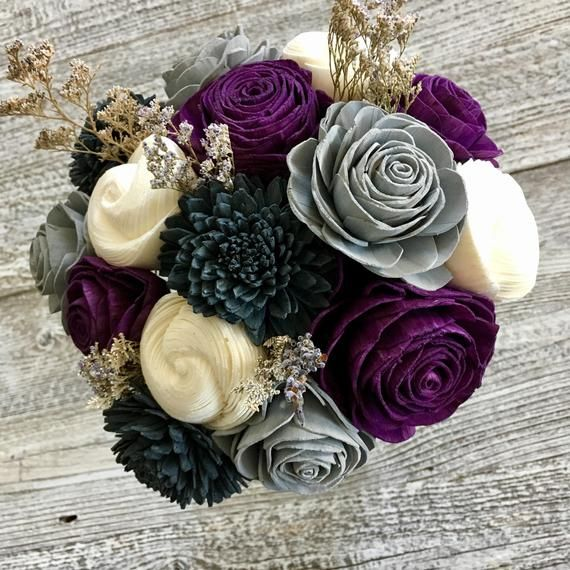Novelexpression Purple Lavender Wooden Flower Bouquet Purple Grey Charcoal White Made To Order Wooden Flowers Wooden Flower Bouquet Flowers Bouquet