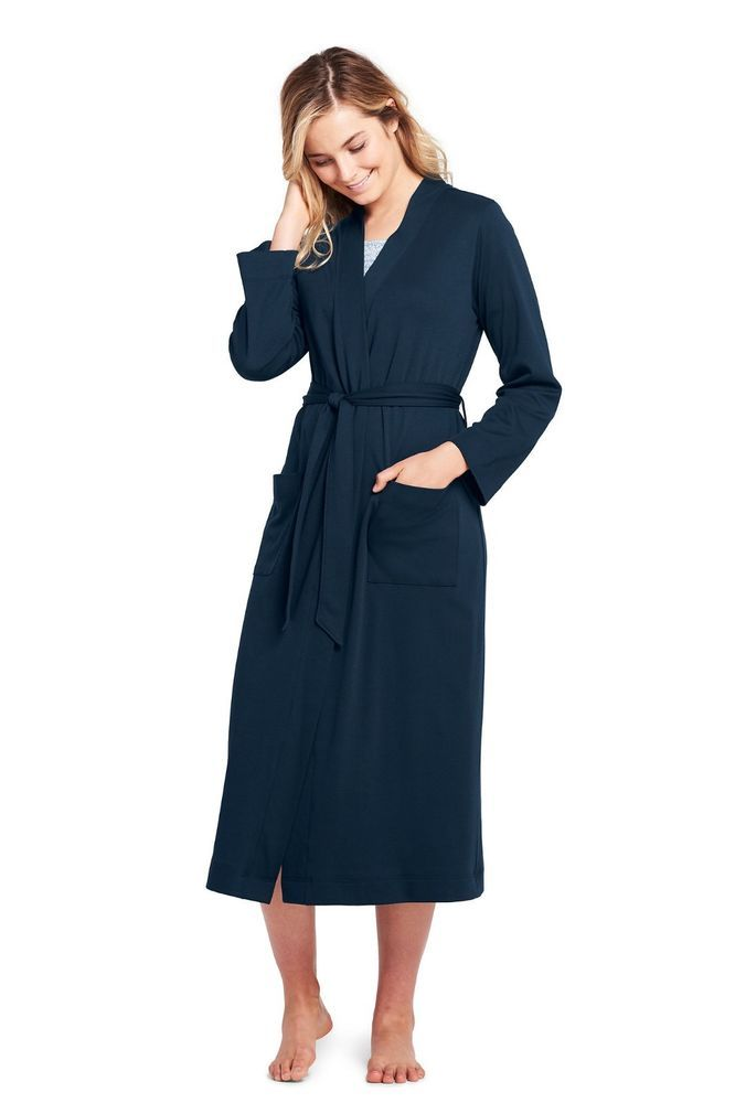 2b71130cb3a nwot LANDS END Womens SMALL Long Sleeve Supima Cotton Robe Navy Blue   LandsEnd  Robes