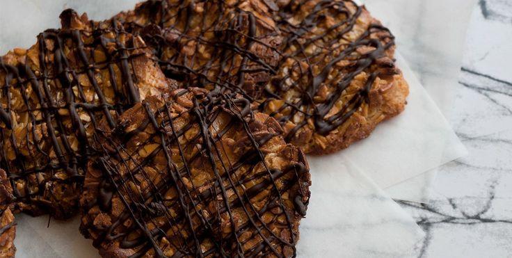 Florentinas de almendra y chocolate. Sin lactosa, sin gluten y bajas en fructosa.