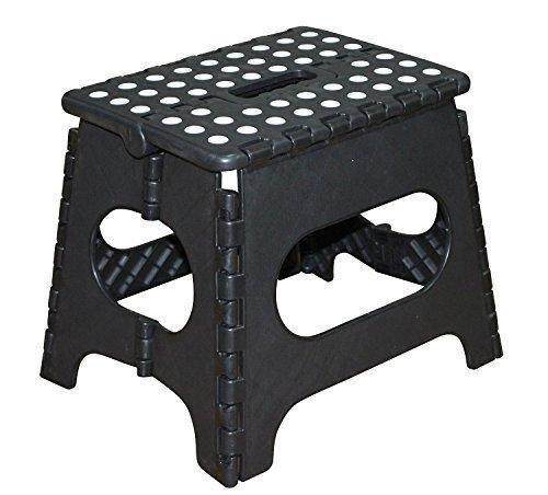 Jeronic 11-Inch Plastic Folding Step Stool Black