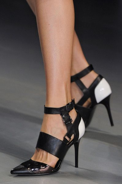Jean Pierre Braganza ~ Leather Ankle Strap Pumps, Black, Spring 2015