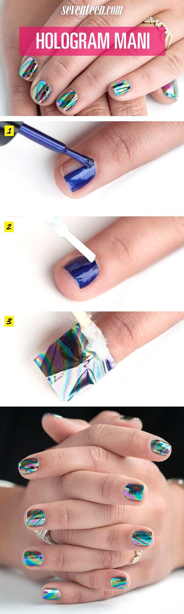 Hologram Nail Art Tutorial - Hologram Foil Manicure How To - Seventeen