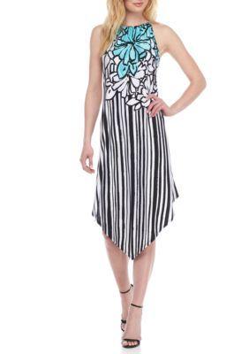 Melissa Paige Women's Striped Floral Halter Dress - Brown - Xl