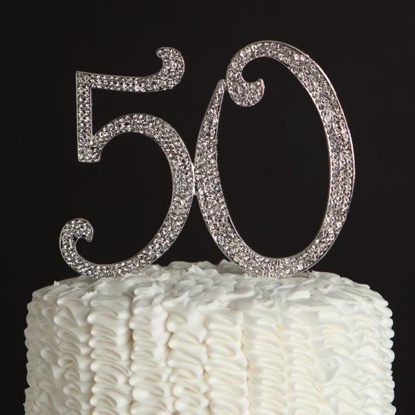 50 Cake Topper Silver Tone Rhinestone Bling centerpiece  Celebrate this special date with the 50 Cake Topper Silver Tone Rhinestone Bling centerpiece  Topper di