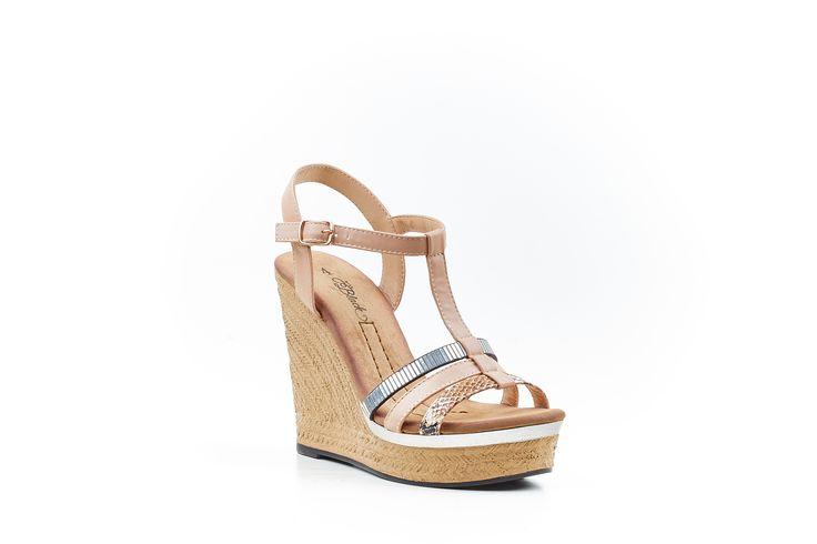 """""""Annie"""" Nude Wedge Sandal by Miss Black Footwear."""