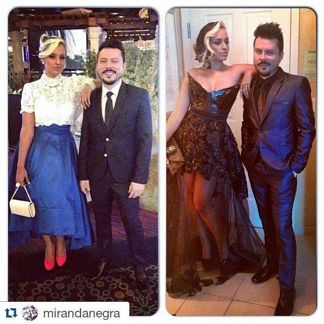 Hace un año estaba nuestra hermosa @mirandanegra en Las Vegas nominada a los Grammy Latinos y en estas dos fotos con vestidos hechos por Lina Marín trademark diseñados para la ocasión... #diseñoexclusivo #diseñocolombiano #artist #artista #singer
