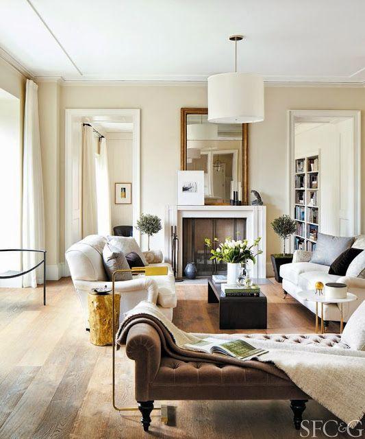 Family Room With Oak Floors Green Sofas