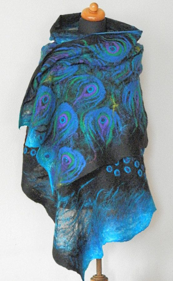 Nuno feltrata sciarpa di seta blu pavone arte scialle