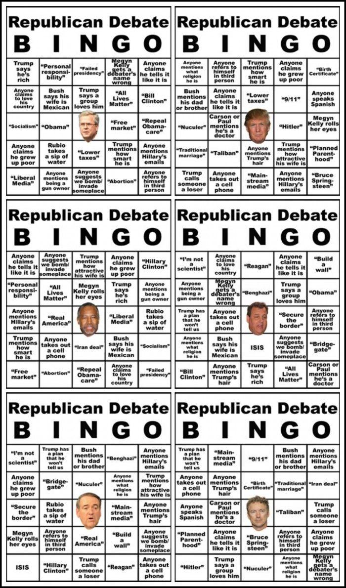 Republican Debate BINGO. Also works as a drinking game.