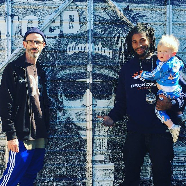 Me Easy and the amazing @lileazy_e son of #nwa #rapper Eazy E - in front of amazing Eazy E mural in Eazys back garden in Compton #nwa #losangeles #california #straightouttacompton #adidasspezial #adidas