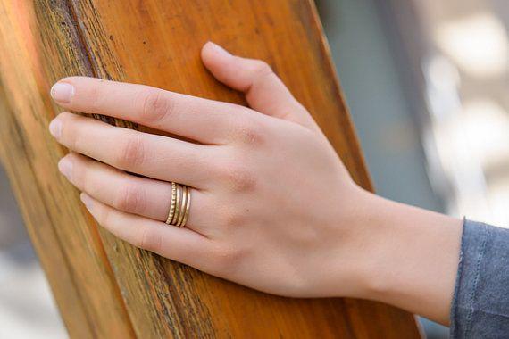Wedding Ring Set,Unique Wedding Ring Set,Gold Stacking Rings,Edwardian Ring,Art Deco Ring,Simple Wedding Band,Thin Wedding Rings